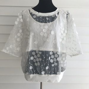 Tops - Sheer Floral Crop White Ruffle Bell Sleeves Top